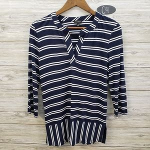 Talbots Navy & White Striped Long Sleeve Blouse